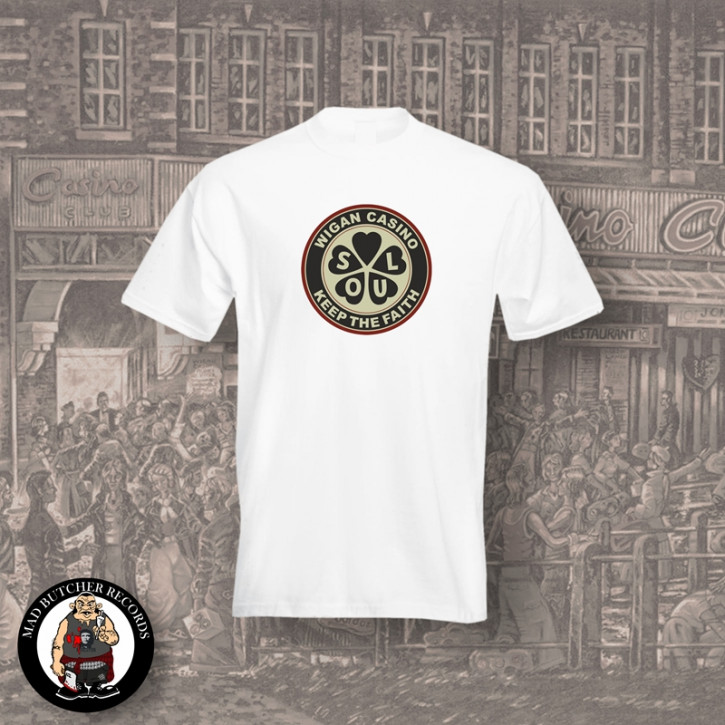 WIGAN CASINO T-SHIRT L / WEISS