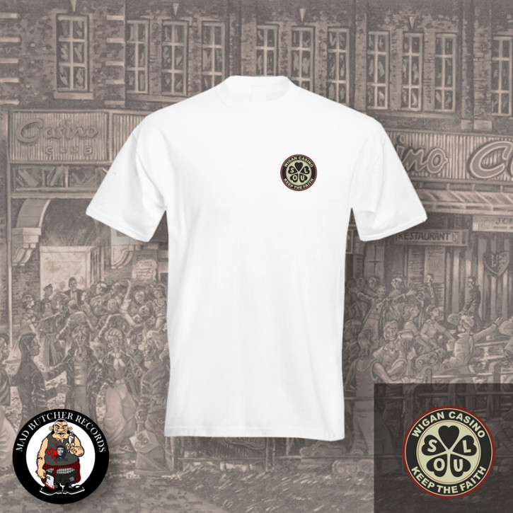 WIGAN CASINO KEEP THE FAITH SMALL T-SHIRT M / WEISS