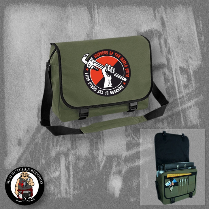 WORKERS OF THE WORLD UNITE MESSENGER BAG OLIVE