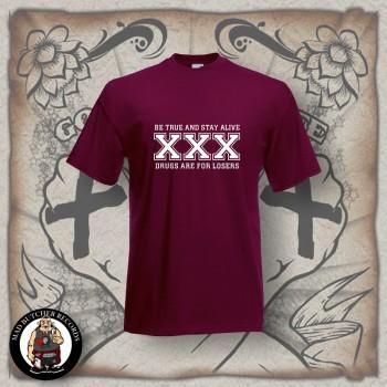 STRAIGHT EDGE T-SHIRT XXL / BORDEAUX RED