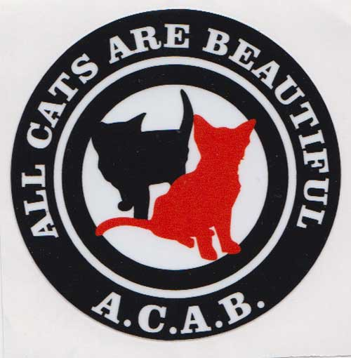 ACAB (ALL CATS ARE BEAUTIFUL) PVC STICKER-MBRPVC017