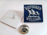 REFUGEES WELCOME BLUE PIN