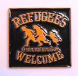 REFUGEES WELCOME ORANGE MAGNET