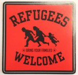 REFUGEES WELCOME PVC AUFKLEBER ROT