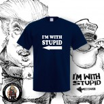 I AM WITH STUPID T-SHIRT NAVY / 5XL