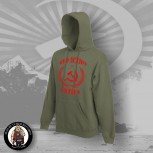 RED ACTION ANTIFA HOOD OLIVE