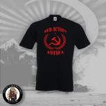 RED ACTION ANTIFA T-SHIRT SCHWARZ
