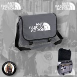 ANTIFASCIST ACTION MESSENGER BAG GRAU / WEISS
