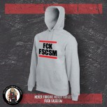 FUCK FASCISM HOOD XL / grey
