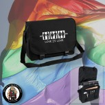 LOVE IS LOVE MESSENGER BAG SCHWARZ